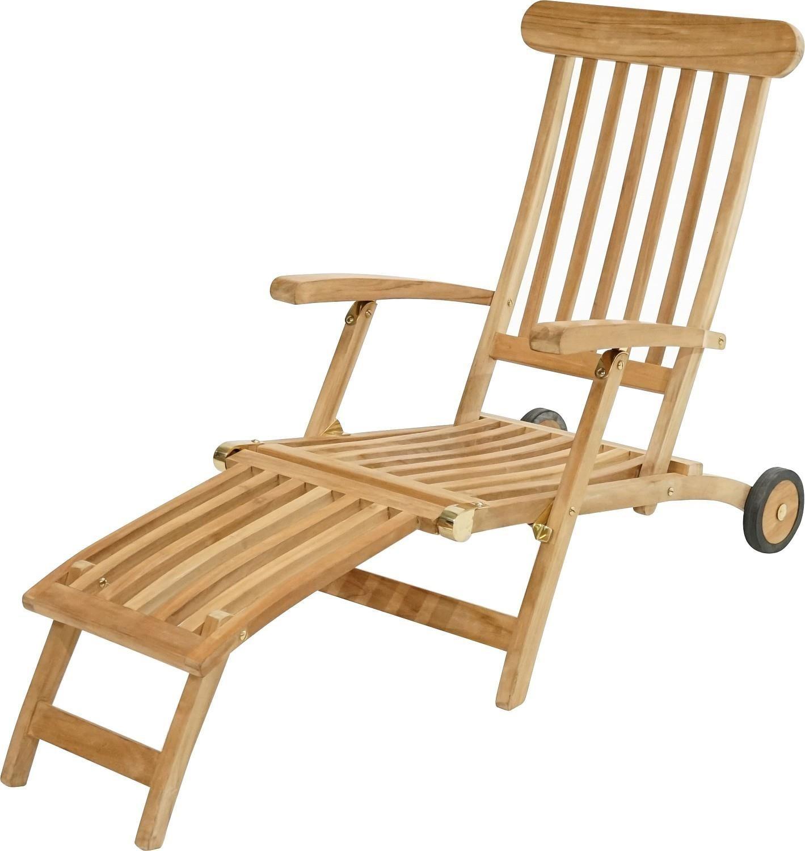Ploß Deckchair Pamir aus Teakholz von  mit Rädern natur/beige (1080490)
