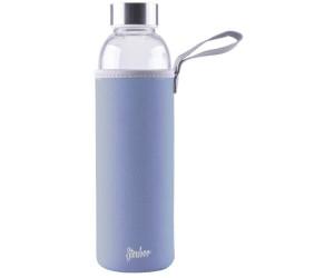 Steuber Glas-Trinkflasche mit Tasche Borosilicatglas Edelstahldeckel 550 ml blau