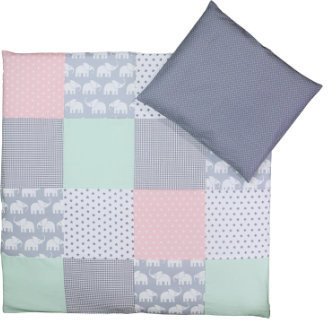 Image of Ullenboom Patchwork Bedding Set elephant mint/pink