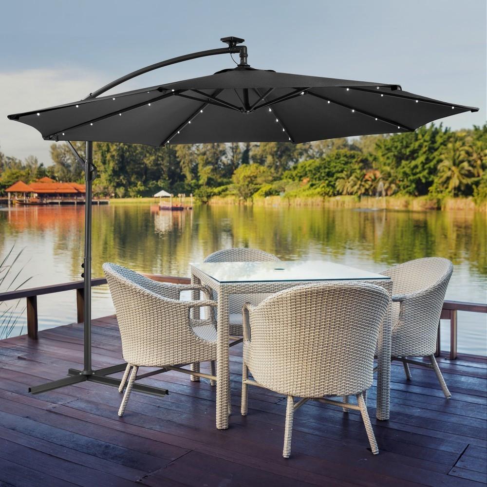 Arebos Sonnenschirm mit LED-Beleuchtung Ø 300 cm anthrazit