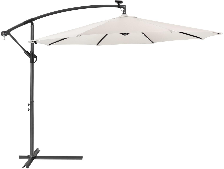 Arebos Sonnenschirm mit LED-Beleuchtung Ø 300 cm creme