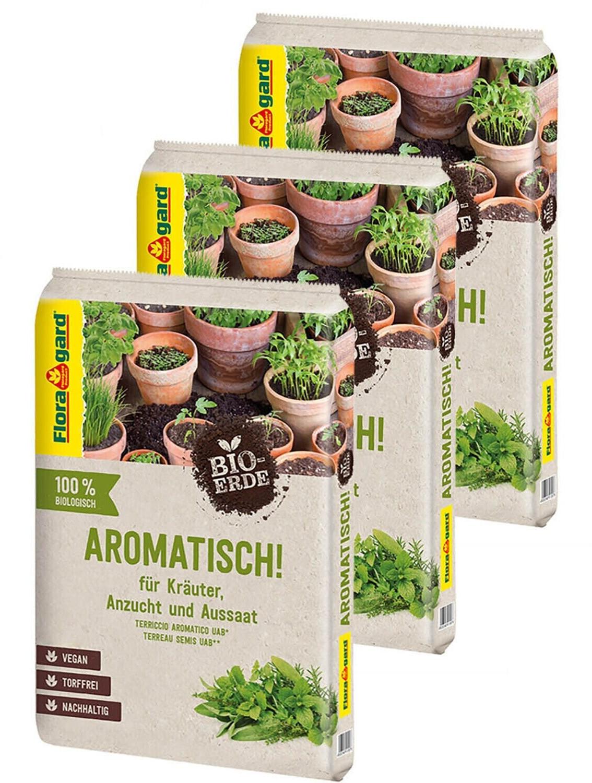 Floragard Bio-Erde Aromatisch 3x10 l - für Anzucht und Aussaat sowie für Kräuter