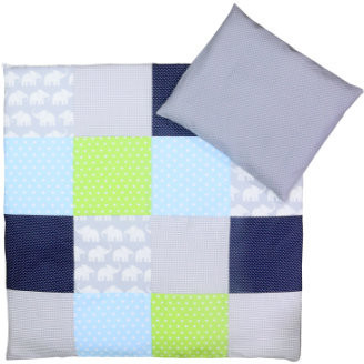 Image of Ullenboom Patchwork Bedding-Set elephant blue/green