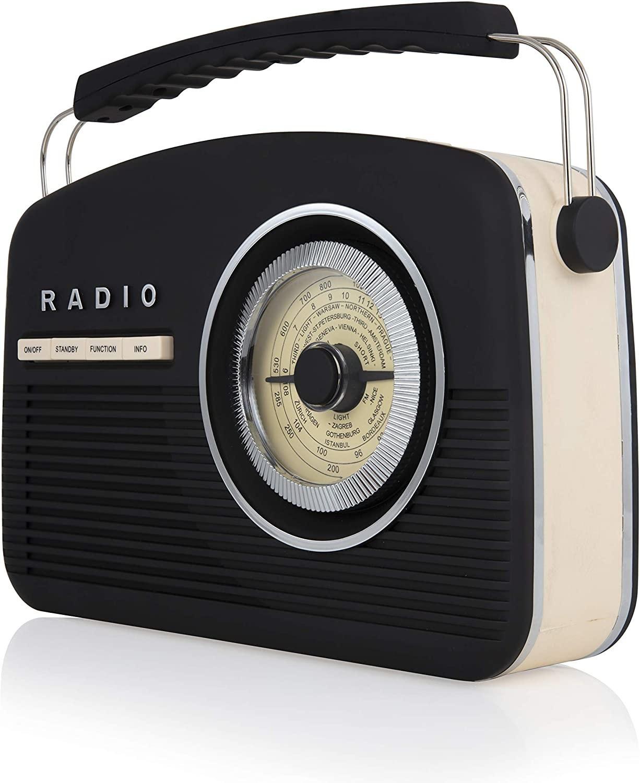 Image of Akai A60010VDABB DAB Vintage Radio, 1950s Style, LCD Display