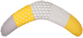 Image of Ullenboom Patchwork Nursing Pillow elephant yellow