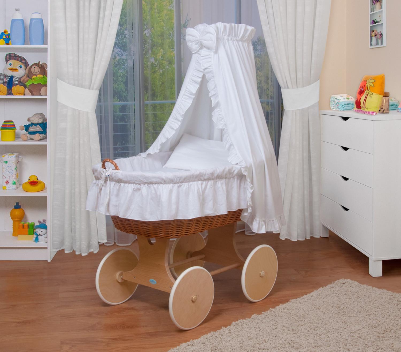 Waldin Baby Stubenwagen-Set (1202) Gestell/Räder natur, weiß