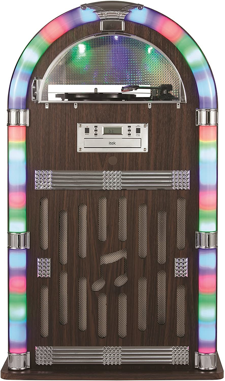 Image of Itek Floorstanding Jukebox with Record Player, Bluetooth Connectivity