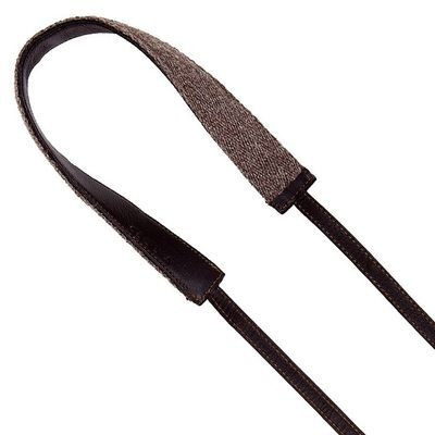 Image of Cecilia Camera Strap 2,5cm wide Alpaca Wool and Leather walnut/brown
