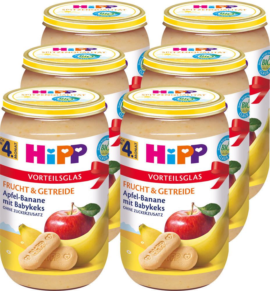 Hipp Frucht & Getreide Apfel-Banane mit Babykeks (6 x 250 g)