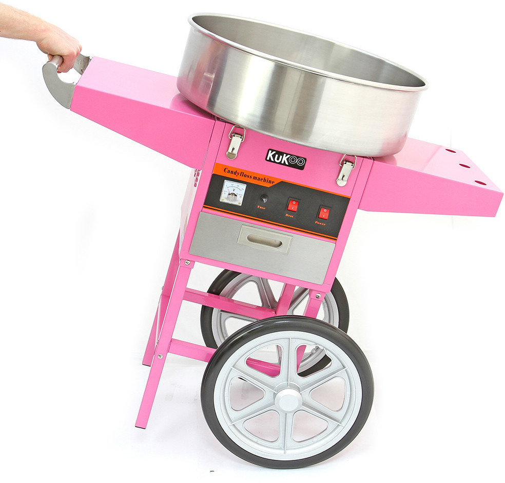 Image of KuKoo Pink cotton candy machine, cotton candy device, cotton candy, drawer and 500 wooden sticks