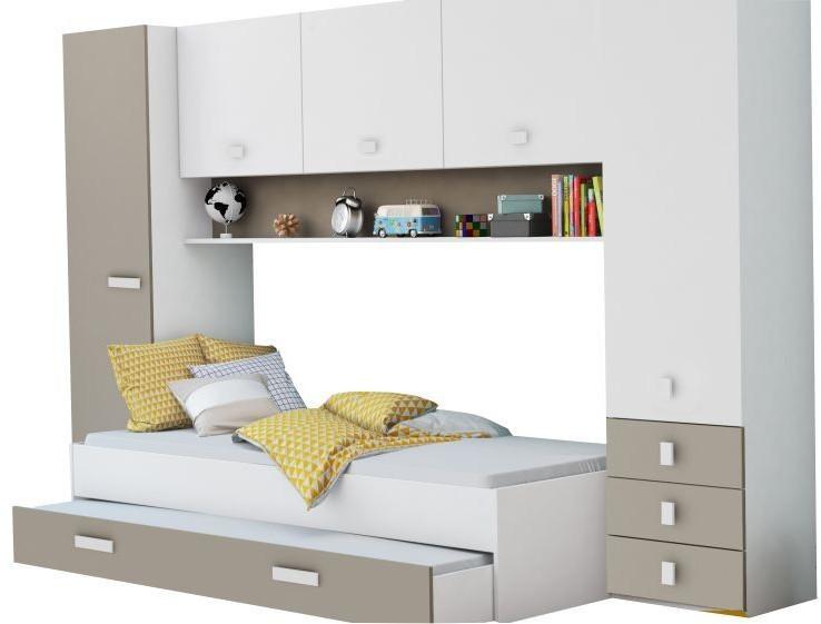 Demeyere Schrankbett Lou B 304 cm mit Bettkasten + Kleiderschrank Kinder Gäste Wandbett