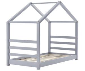 Kinderbett mit Lattenrost 70 x 140 cm Hausbett Bettenhaus Jugendbett Holz Grau