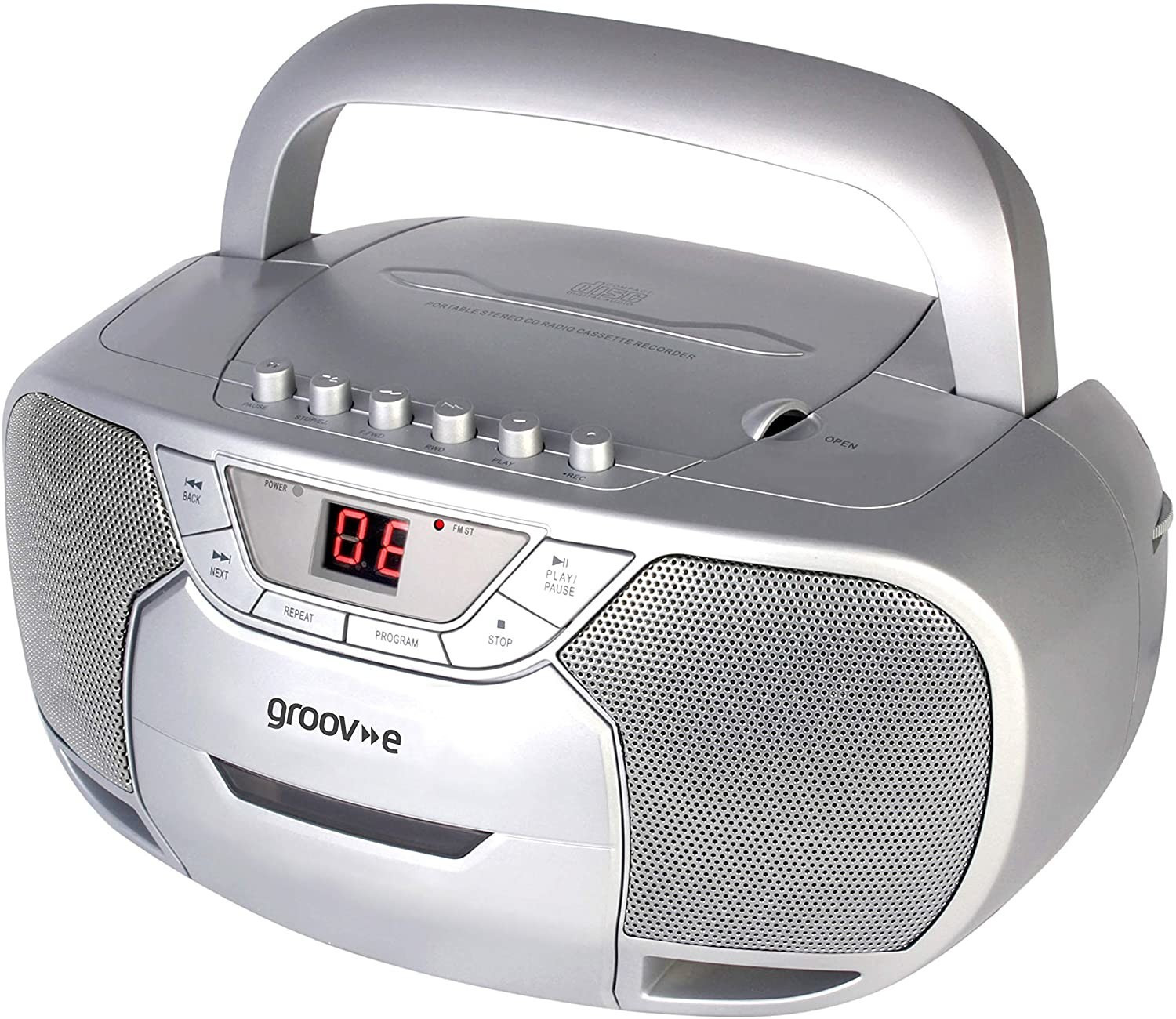 Image of Groov-e Classic Boombox Portable CD Player with Cassette & Radio