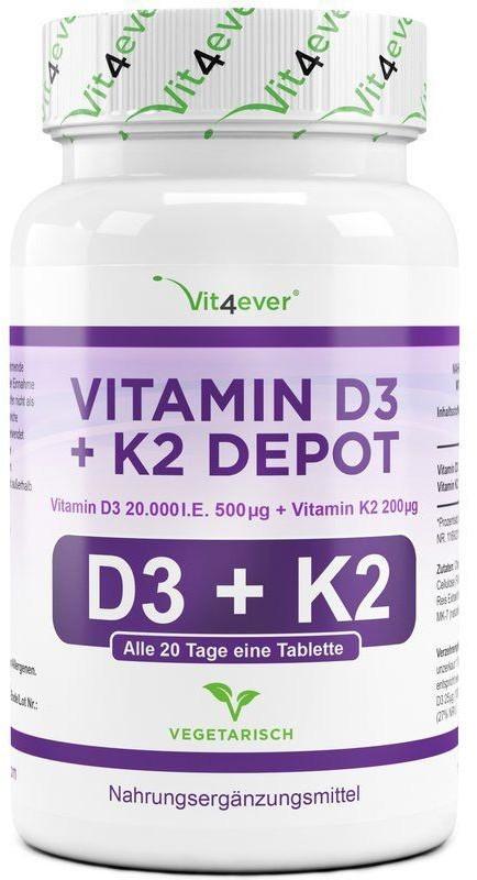 Vit4ever Vitamin D3 20.000 I.E. 500µg + K2 200µg Tabletten (180 Stk.)