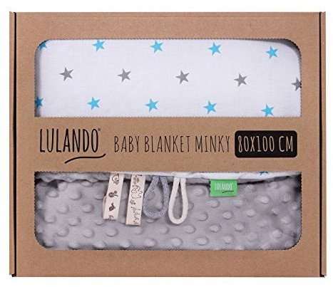 Lulando Babydecke Minky sternchen blau/grau