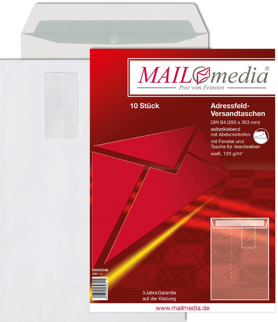 Mailmedia Adressfeld-Versandtasche B4 mit Fenster weiß (30002546)