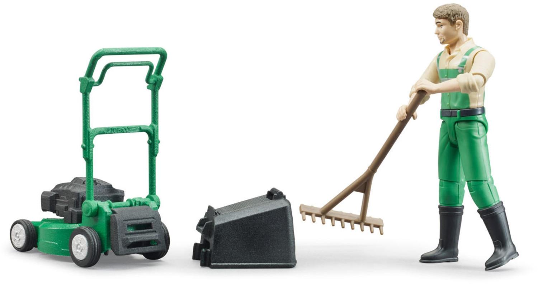 Bruder bworld Gärtner mit Rasenmäher und Gartengeräten (62103)