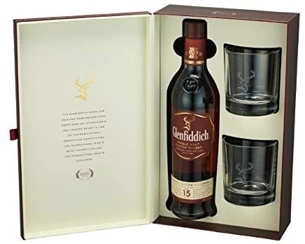 Glenfiddich Single Malt Scotch & 2 x Glass Tumblers Gift Pack