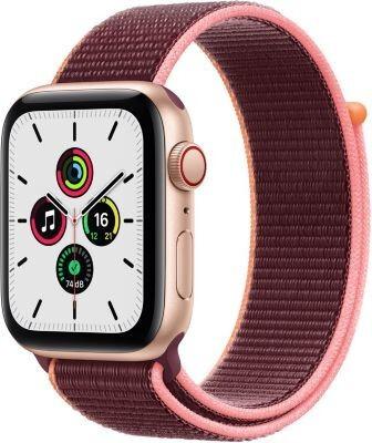 Apple Watch SE Cellular 44mm alluminio oro con cinturino Sport prugna