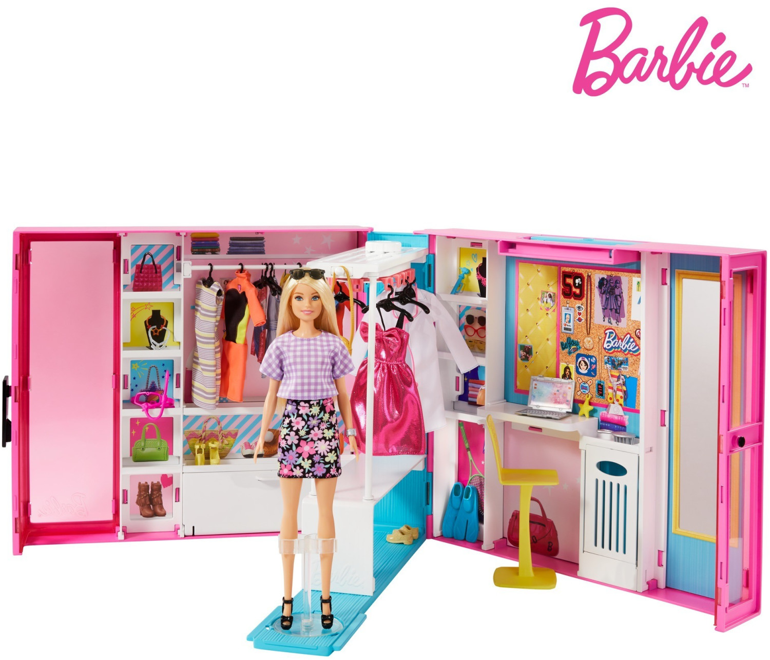 Image of Mattel Barbie's Dream Wardrobe with Barbie Doll, Accessories and Clothes