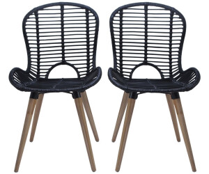 Vidaxl Dining Chairs In Black Rattan 4 Pieces Ab 240 96 Preisvergleich Bei Idealo De