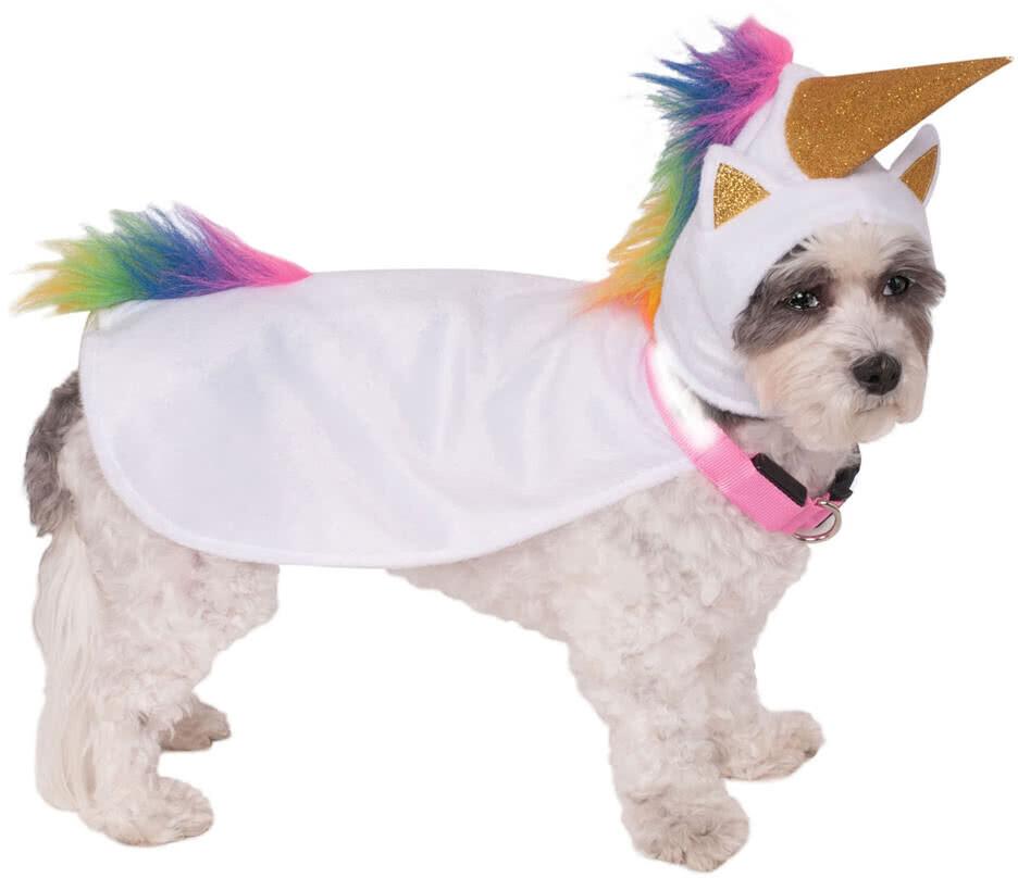 Rubie's Einhorn Hundekostüm mit Kapuze und Leuchthalsband L