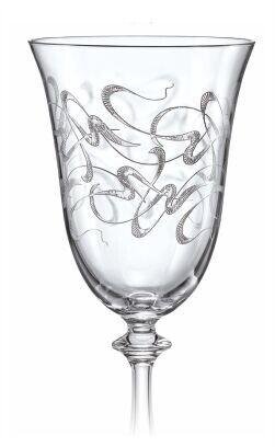 Bohemia Weißweingläser Weinglas Weinkelch Model Royal 250 ml 6er Set mit eingravierten Ornamenten