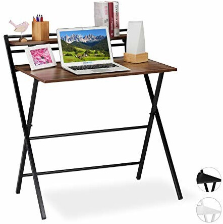 Relaxdays Schreibtisch klappbar braun