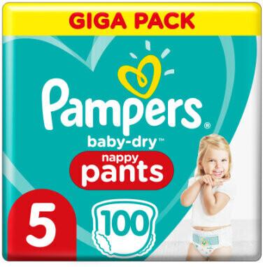 Pampers Baby-Dry Höschenwindeln 5, 100 Windeln, 12kg-17kg