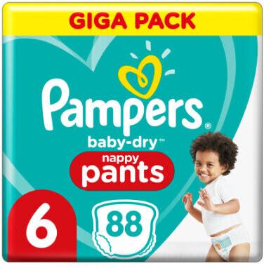 Pampers Baby-Dry Höschenwindeln 6, 88 Windeln, 15kg+