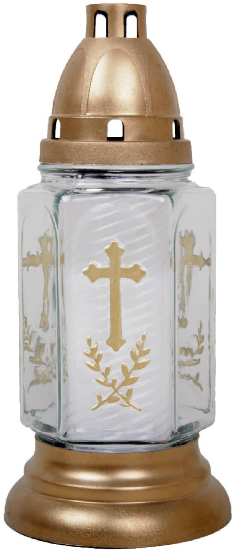 HS Candle Grabkerze 24cm Bella Kreuz weiß gold