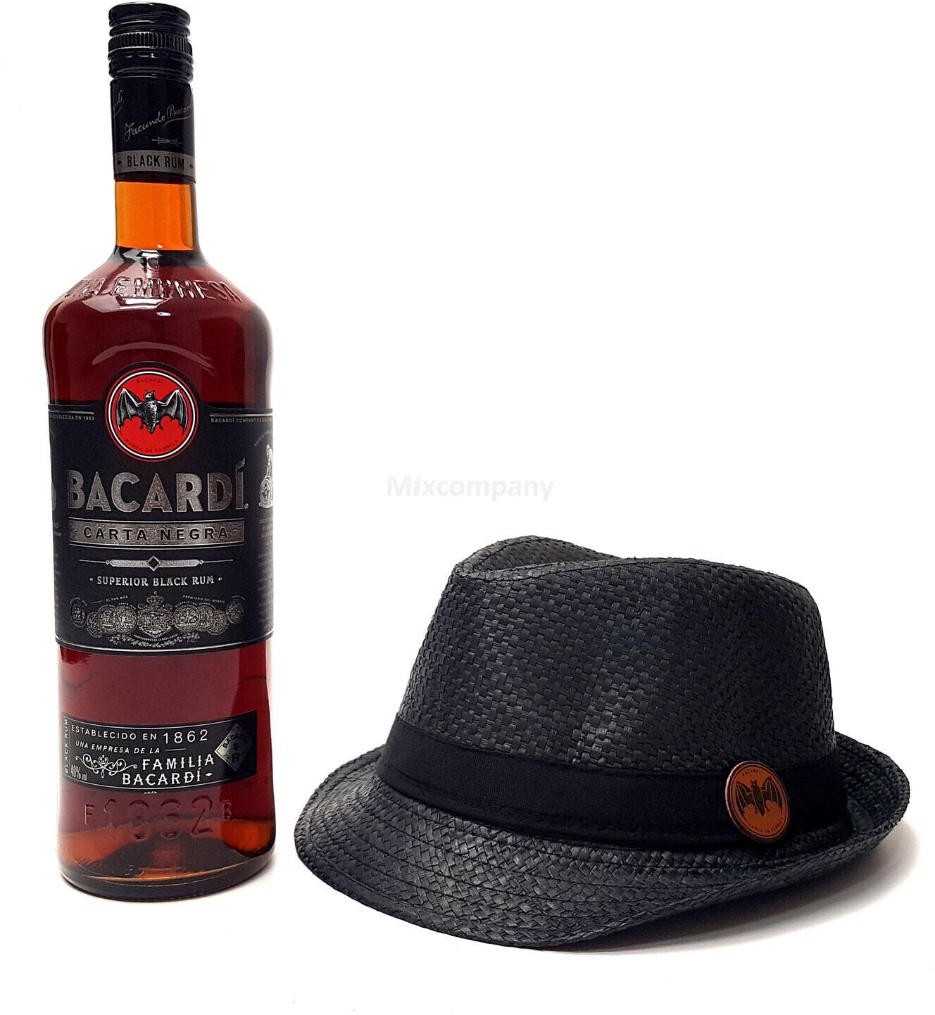 Bacardi Carta Negra Rum (0,7l) 700ml (40% Vol) + Strohhut schwarz