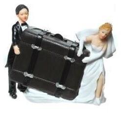 Udo Schmidt Spardose Brautpaar mit Koffer