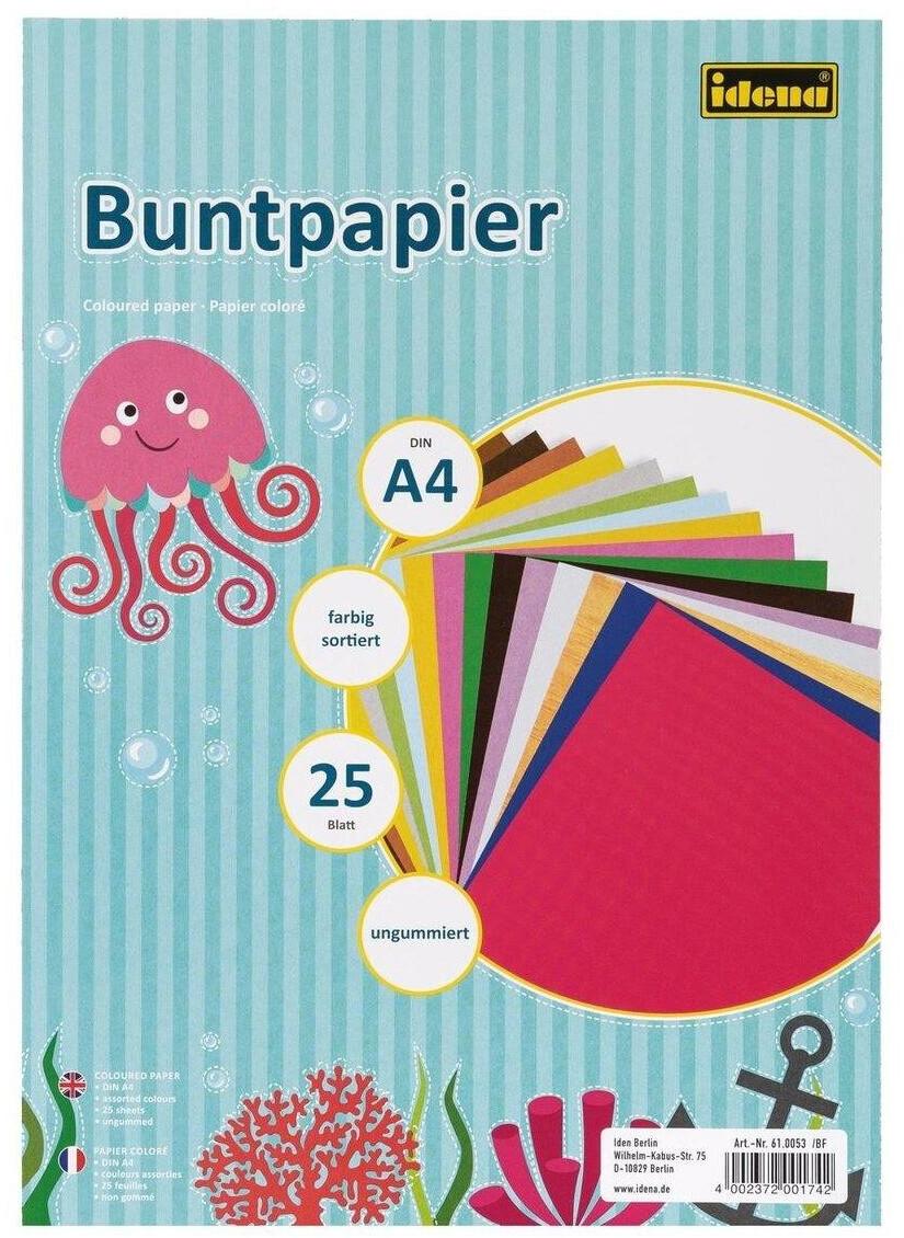 Idena Buntpapier 610053 A4 ungummiert 80g/m² 25 Farben 25 Blatt