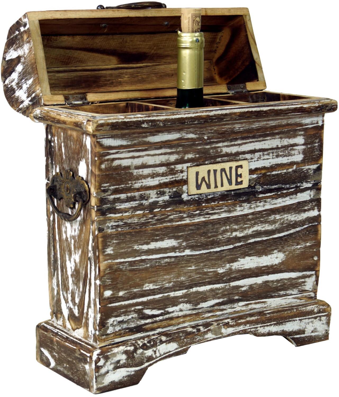 Guru-Shop Weinregal Vintage Look, Weinragal, Weinbox - Modell 4, Braun, Holz, 38*31*13 Cm, Weinregale & Kleine Regale