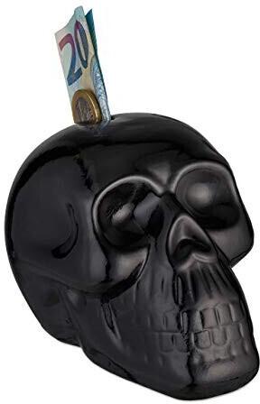 Relaxdays Totenkopf Spardose 9 x 8,5 x 12,5 cm schwarz