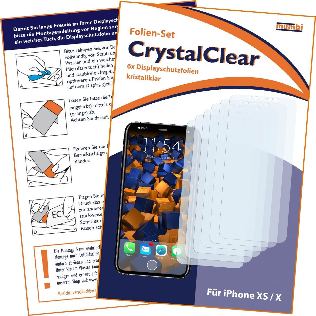 Mumbi Schutzfolie kompatibel mit Apple iPhone X Folie, iPhone XS Folie klar (6x)
