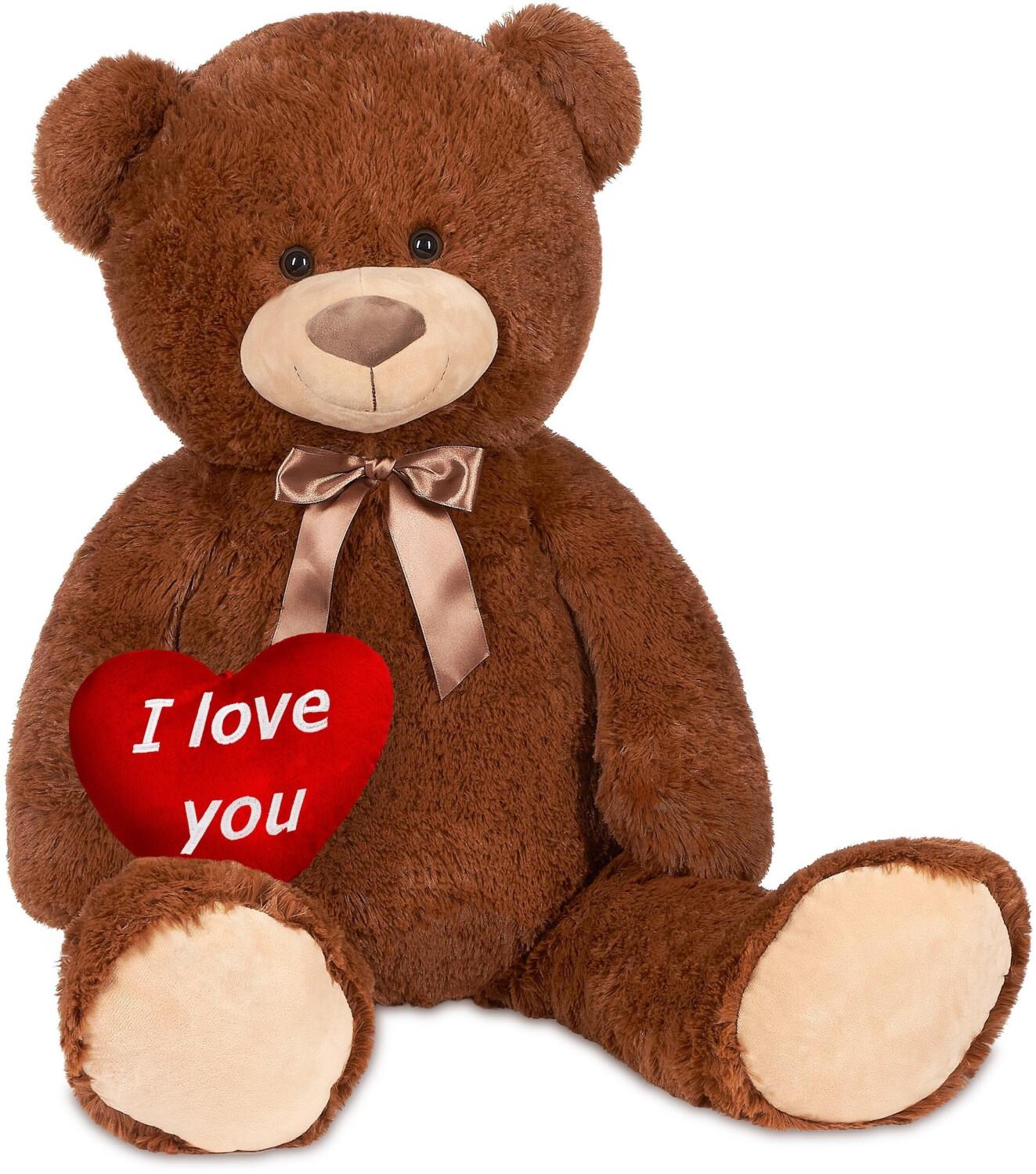 """Brubaker Teddybär XXL 100cm mit Herz """"I love you"""" braun"""