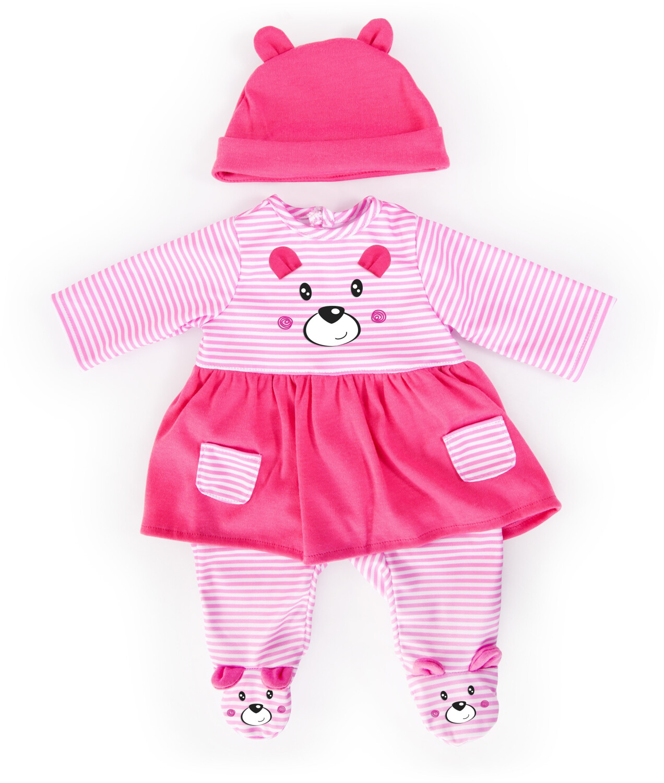 Bayer Kleider Puppen 40-46 cm: 3-tlg. Set - Kleid Hose Mütze rosa/pink (16933620)
