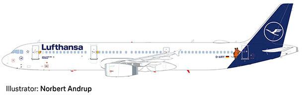 """Herpa Lufthansa Airbus A321 """"Die Maus"""" (559959)"""