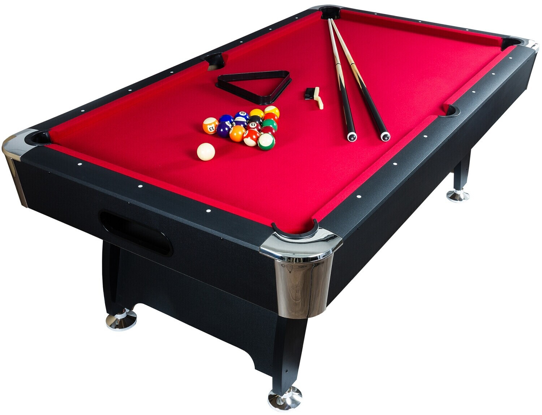 Maxstore 7 ft Pool Billardtisch Premium schwarz/rot
