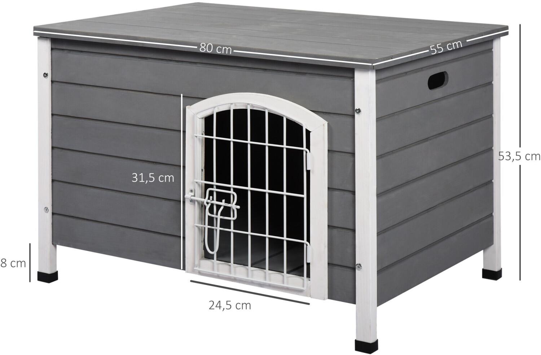 Pawhut Hundekäfig mit Tür grau