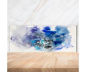 Tulup Küchenrückwand aus Glas Spritzschutz 100x50cm Blumen Wasser Kunst