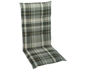 GO-DE Sessel-Auflage hoch 120 x 50 x 6 cm grau-kariert