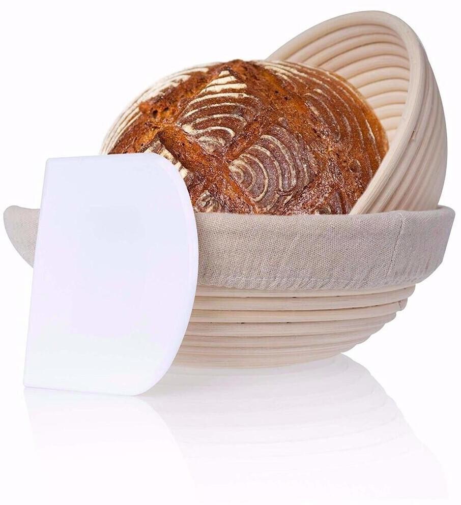 riijk Gärkorb 2er Set rund inkl. Gratis Teigschaber, 2X Gärkörbe für Brot und Brotteig Peddigrohr 22 und 25cm, Brotform Leineneinsatz Holzschliff