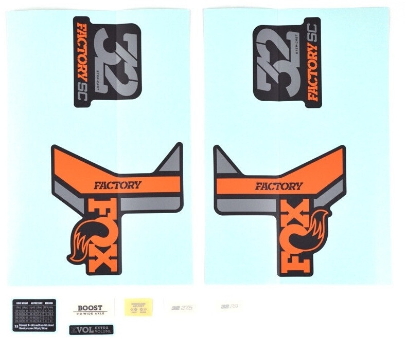 Fox Aufkleber Set für 32 SC F-S orange/shiny black