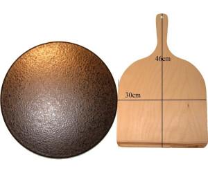 Megrill Set Pizzastein 35 x 2 cm und Pizzaschaufel 30 x 46 cm