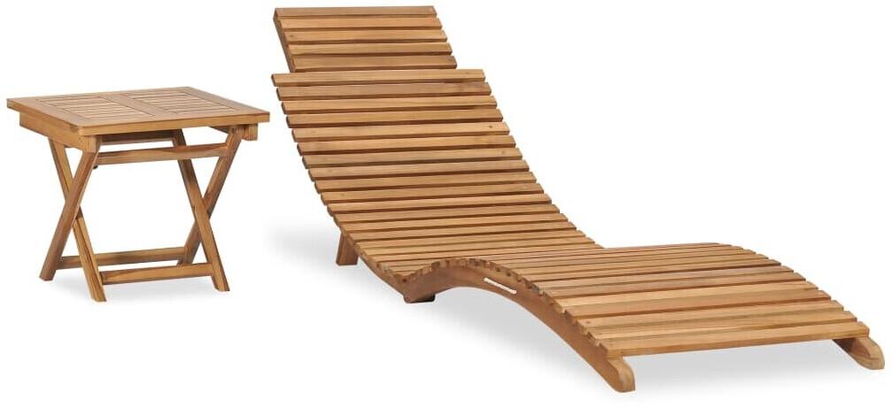 vidaXL Sun Lounger With Table in Teak Wood