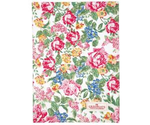 Greengate Emmaline weiße Blumen Geschirrtuch 50 x 70 cm