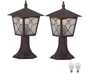ETC Shop LED Außen-Stehleuchten Laterne Alu rost 37,5cm 2er-Set (3127_2 + LED)